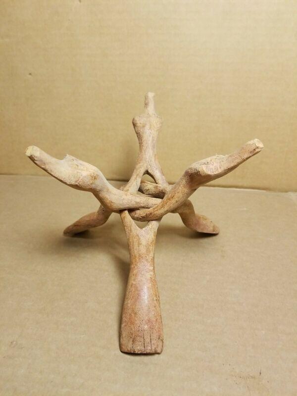 Vintage Hand Carved Wooden Weasels Tri Pod Bowl Stand