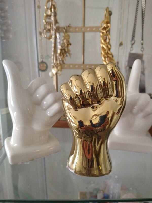 3 PC Ceramic Hand Gesture Set Of 3 Statue