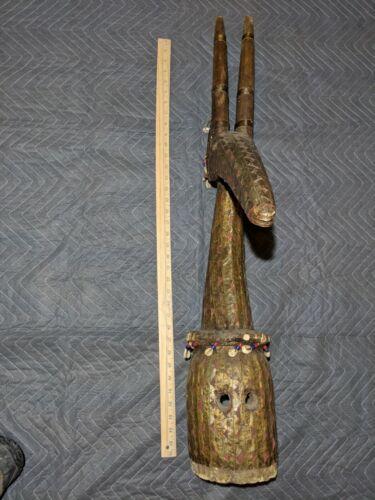 Kurumba Antelope Headdress with Metal Overlay — Authentic Wood African Art