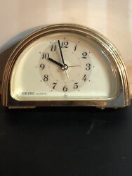 "Vintage SEIKO Gold Tone 5"" Quartz Shelf Mantle Desk Alarm CLOCK - Tested & Works"