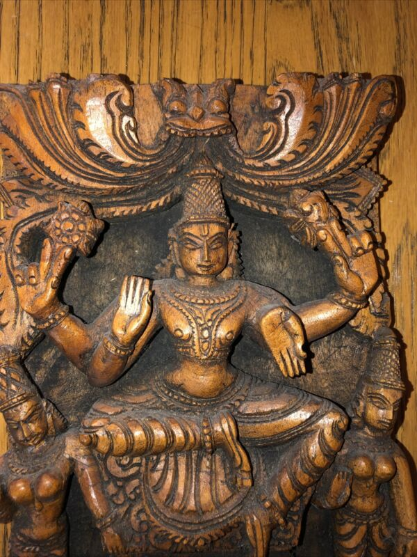 "WonderfulAntique Asian hand carved Wood Temple Carving Hindu 11 7/8"" t X 7 3/8""w"