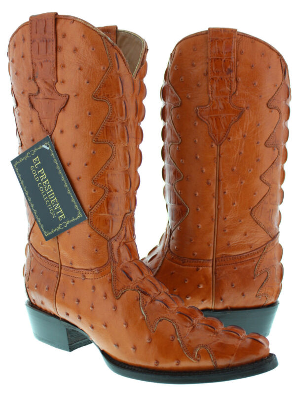 Mens, Cognac, Full, Exotic, Crocodile, Ostrich, Tail, Western, Pullon, Cowboy, Boots