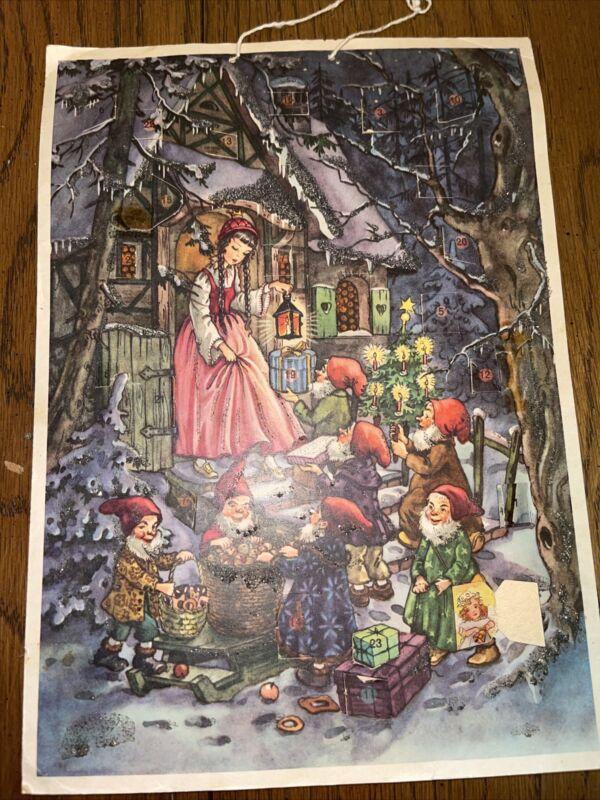 Vintage Christmas Advent Calendar West Germany  Hanging