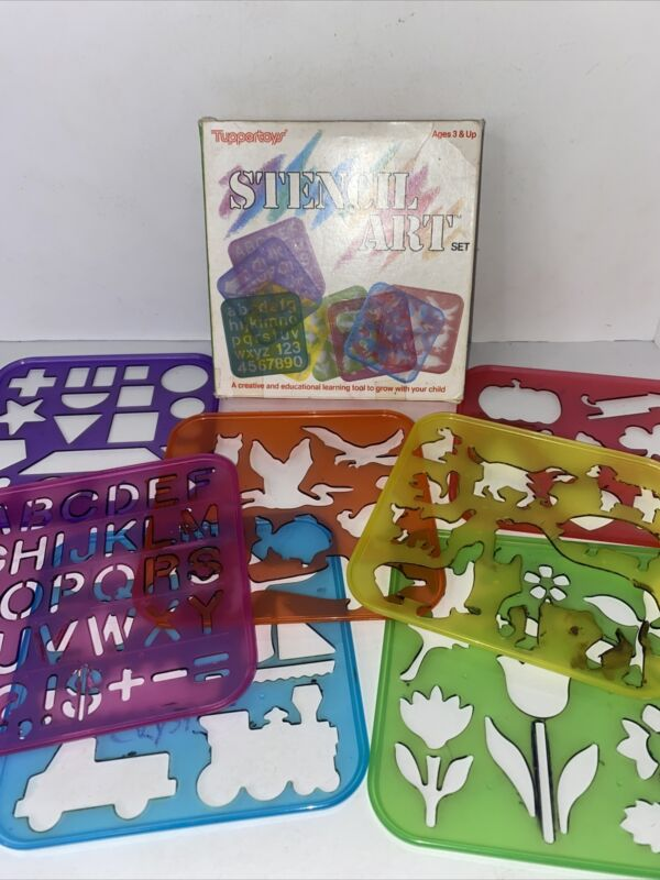 Vintage Tupperware Tuppertoys Plastic Stencil Art Craft Set Lot of 7 Box 1987