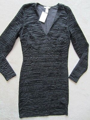 WOMEN'S H&M BLack V Neck LONG SLEEVE STRETCH FITTED DRESS SIZE Large L SEXY NEW