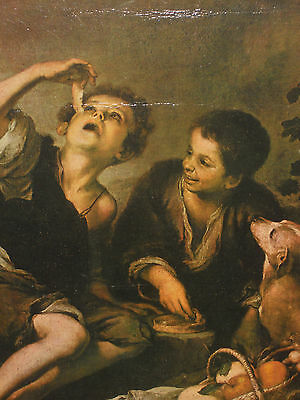 painting framed Bartolome Esteban Murillo  boys with fruits and dog