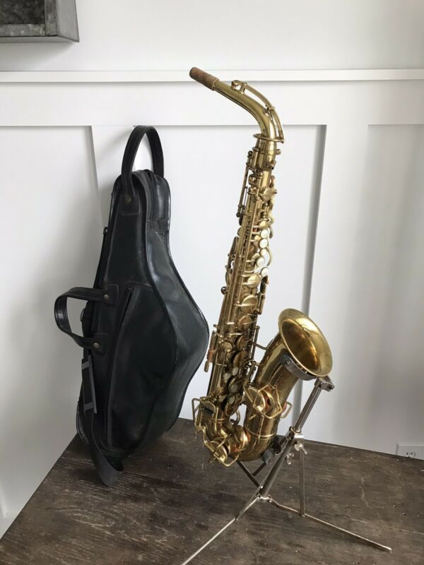 Vintage 1929 1930 The Buescher True Tone Alto Saxophone Sax W/ Leather Case