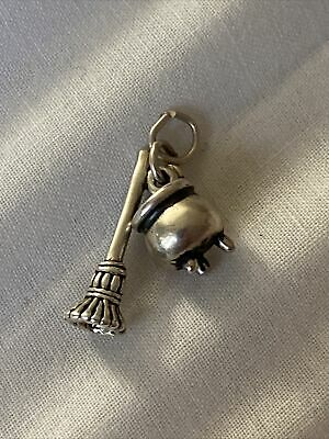 Vintage Sterling Silver 3D CAULDRON & BROOM charm Witch Halloween Pendant