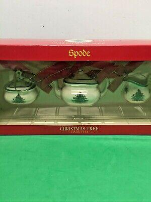 Spode Christmas Tree Mini Teapot, Sugar Bowl, Creamer Ornaments New Original Box