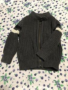 Baby Gap 12-18m chunky knit zipper sweater in grey