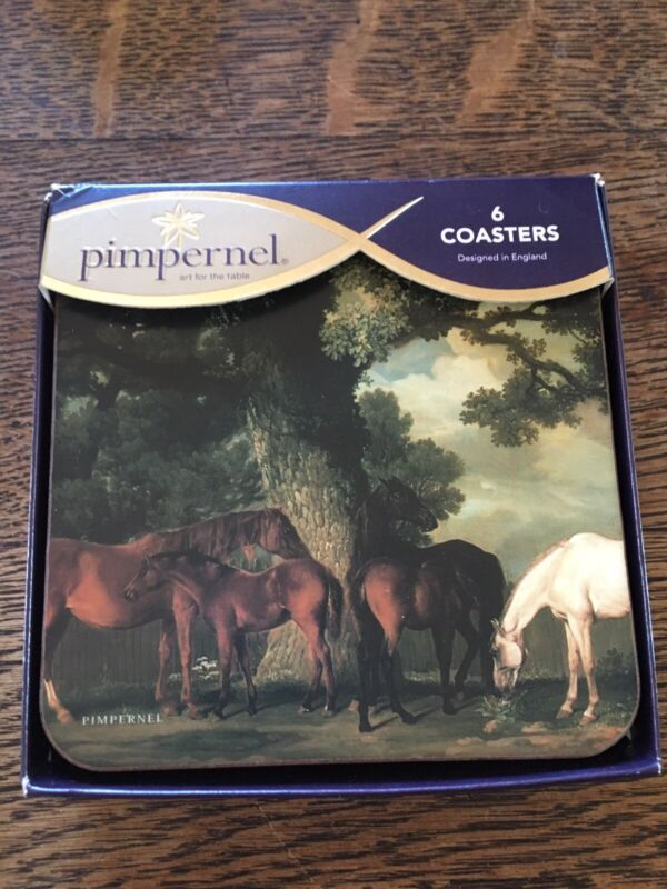 New PIMPERNEL COASTERS Set of 6 Grazing Horses - Made In England