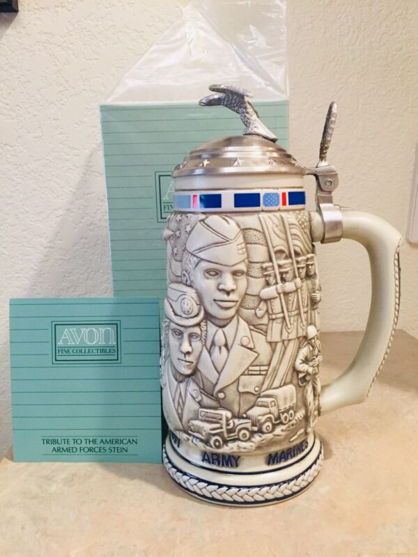 Vintage Avon Tribute to the American Armed Forces Stein Collectible NEW IN BOX