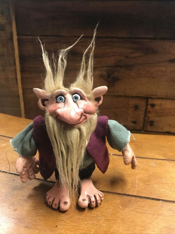 "Vintage 5"" Forest Gnome Troll Smiling Has Beard Big Hands & Feet Handmade?-OOAK"