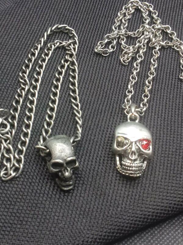 Set Of 2 Vintage Silver Tone Skull Necklaces Mens Biker Gothic