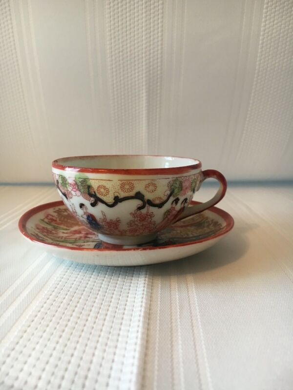 Antique Vintage Japanese Kutani Geisha Porcelain Hand Painted Teacup and Saucer