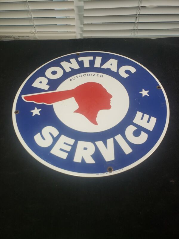 """Ande Rooney 1987 Porcelain Sign Pontiac Authorized Service  11-1/4"""" Round"""