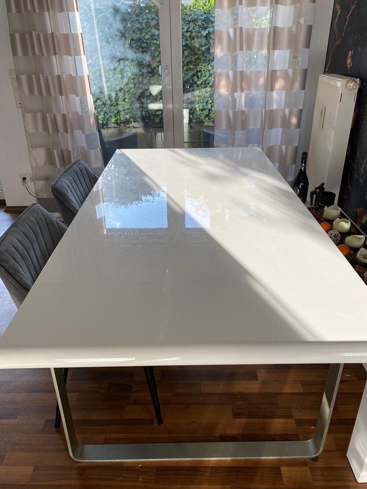 Design Esstisch Weiß Hochglanz Klavierlack 180x90 1
