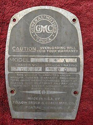 1937 GMC 1/2 TON PICKUP TRUCK T14 ORIGINAL FIREWALL MOUNTED DATA PLATE