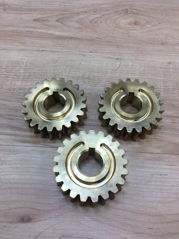 3 Industrial Machine Age Brass Bronze Cog Gear Lamp Piece Steampunk Sculpture