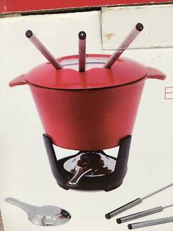 Red Enamel Cast iron Fondue Set (boxed new)