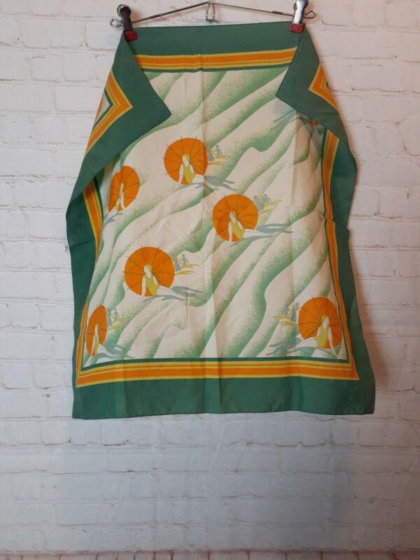 Vintage Art Deco Sun Baithing Women Lady Scarf Green Orange