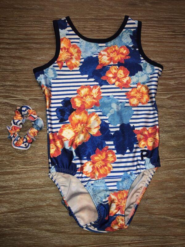 Plum Practicewear Gymnastics Leotard Flowers & Stripes Size Adult Xs