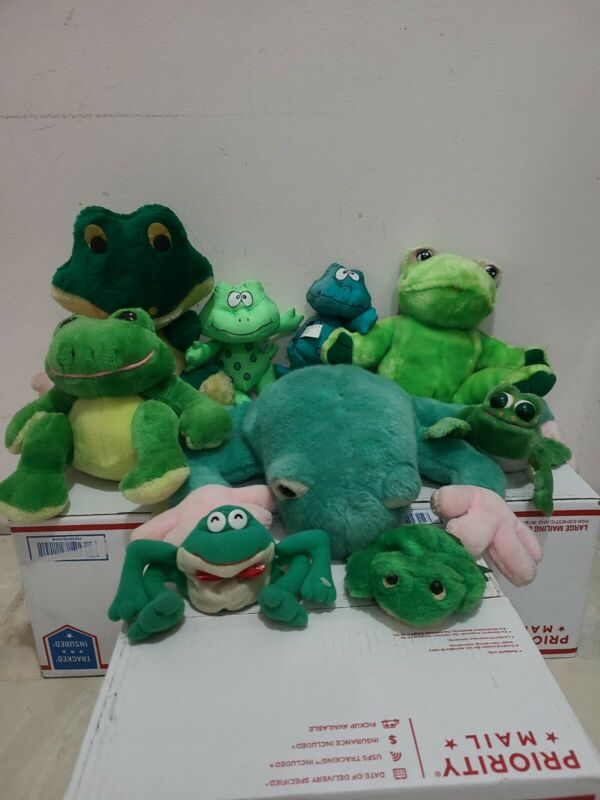 Lot of 9 Stuffed Animals- Frogs