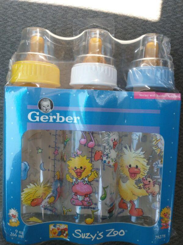 """Vintage Gerber 9oz Baby Bottles """"Suzy"""