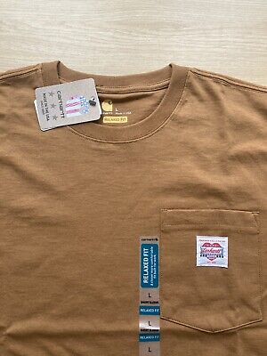 CARHARTT Heritage K87 Pocket T-Shirt Brown WIP Made in USA Men's Sz Large NEW!