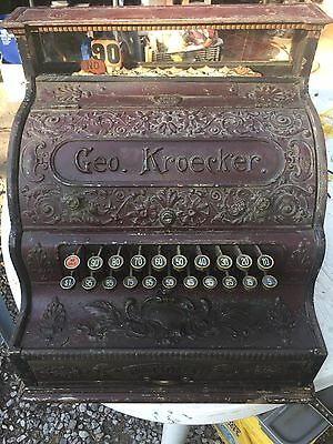Antique Cast Iron National Cash Register Geo. Kroecker Candy Barber Coin Op