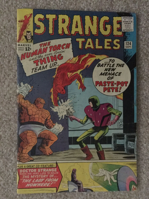 STRANGE TALES #124, 1964, NEW MENACE OF PASTE-POT PETE , FN+ GRADE