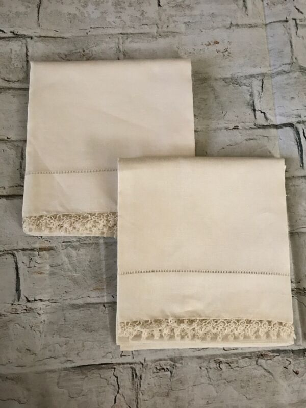 "FAB! Antique Cream Linen Hemp & Delicate Lace Pair Handmade Pillowcases 33"" x22"""
