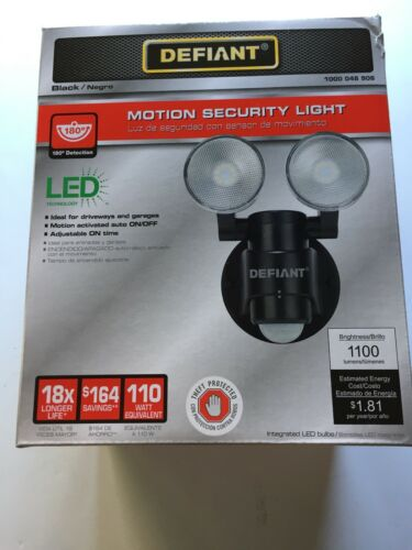 Defiant 180-Degree 2-Head Outdoor Motion Activated Black Flo