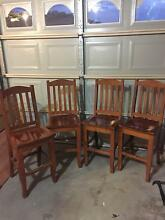 Four wooden Bar stools with Backs Albion Park Shellharbour Area Preview