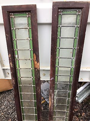 2 x Reclaimed Antique Leaded Stained Glass Panels - some damage