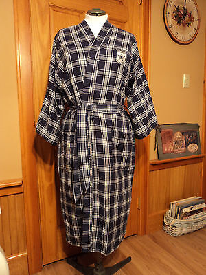 Team NFL DALLAS COWBOYS FOOTBALL NAVY PLAID FLANNEL ROBE gift 3/4 SLEEVE rare