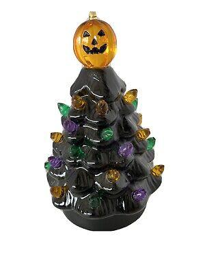 "Mr Halloween Light Up Tree Black Ceramic 5"" New"
