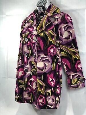 Missoni For Target Girls Jacket Pea Coat Medium Trench Floral Velour Pink Purple](Peacoat For Girls)