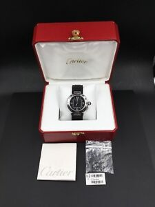 Cartier Pasha Seatimer Rubber & Stainless Steel Mens Watch W31077U2 w/ Box