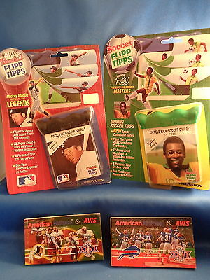 1989 VISIONATION BASEBALL - FLIPP TIPPS + NFL SUPER BOWL XXVI (4) FLIP BOOKS Tipp Bowl