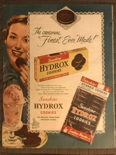 Sunshine Hydrox Cookies~The Original Finest Ever Made~1950 Vintage Print AD B10