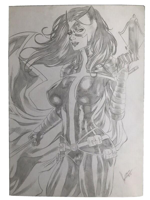 "Huntress (9""x12"") Original Art Comic Sexy Pinup By L. Oliveira - Ed Benes Studio"