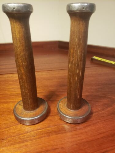 Excellent rare antique wood candleholders