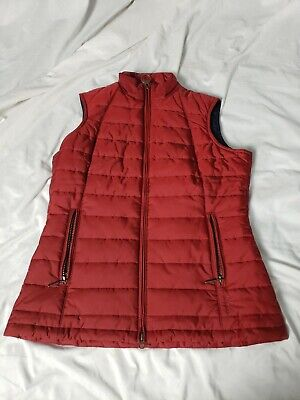 Barbour Red Dovecote Gilet Quilted Vest Women's Size 6 w/ Zip Pockets