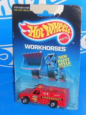 Hot Wheels 1987 Workhorses 5145 / 54 Rescue Ranger Red w/ BWs