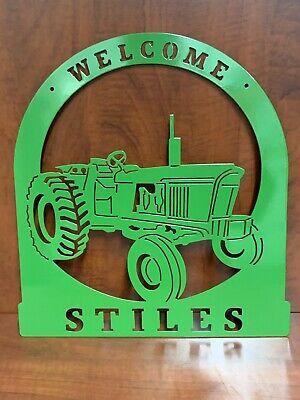 New Gen John Deere Tractor 3020 4020 Metal Welcome Sign Personalized Custom Usa