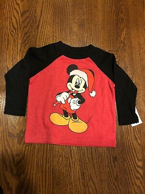 Mickey Mouse with Santa Hat Holiday Christmas T-Shirt Red Baby Tee Disney