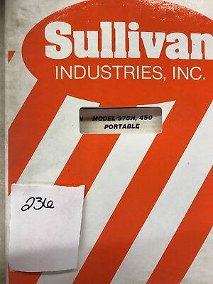 Sullivan Operator And Parts Manual 375h 450 Compressor Portable