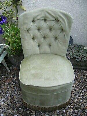 Vintage Retro Sherborne Bedroom Tub Chair Green Draylon Velour Small Tassel