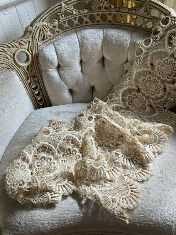 "Beautiful 100"" Vintage Lace Crochet Work Valance Trim Cream Scalloped"